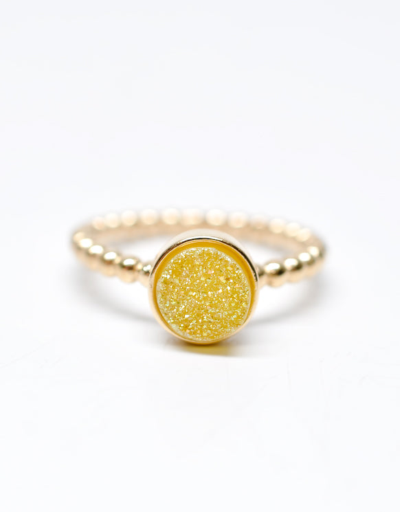 Drusy Dot Ring in Lemon - LEIF
