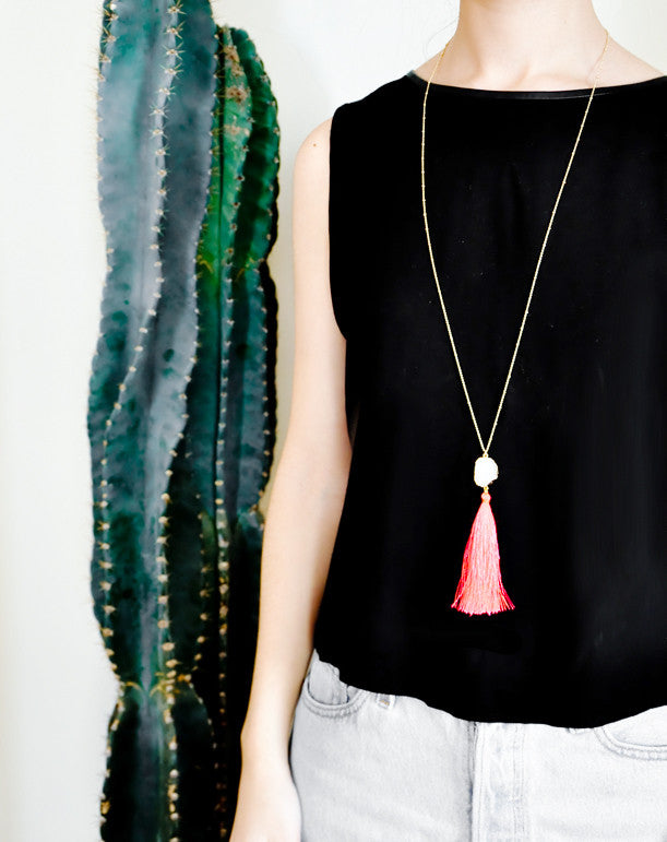 Drusy Tassel Necklace - LEIF