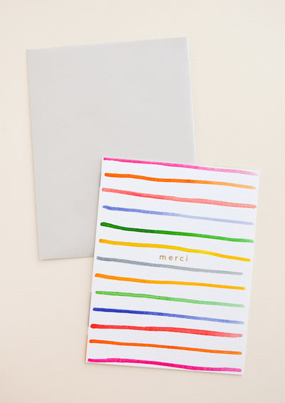 Merci Stripes Card in  - LEIF