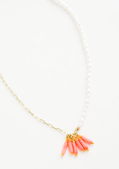 Necklace with half strand of pearl beads and hand strand of golden linked chain, coral bugle beads gathered at front center