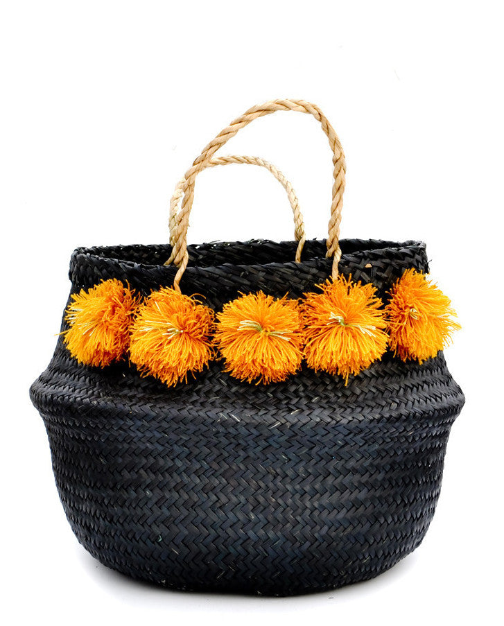 Pom Pom Venice Basket in Black - LEIF
