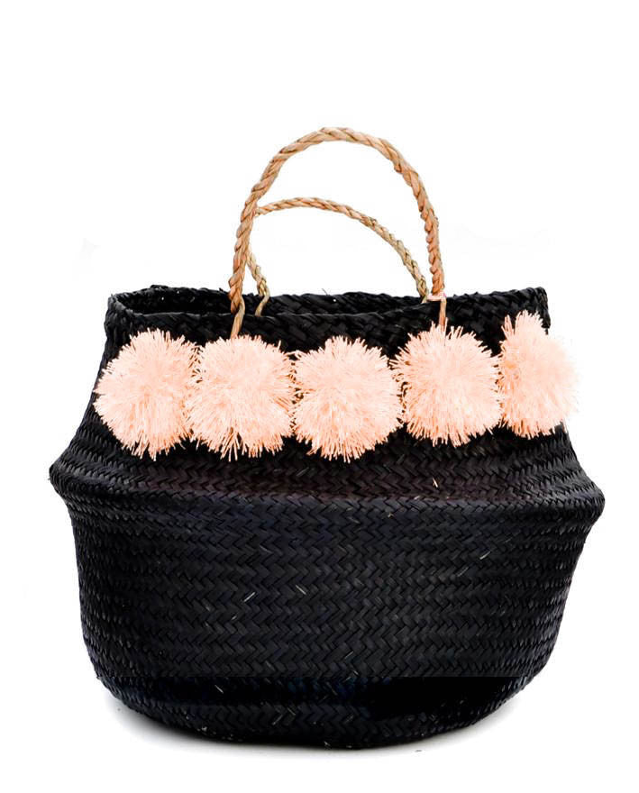 Pom Pom Venice Basket in Black