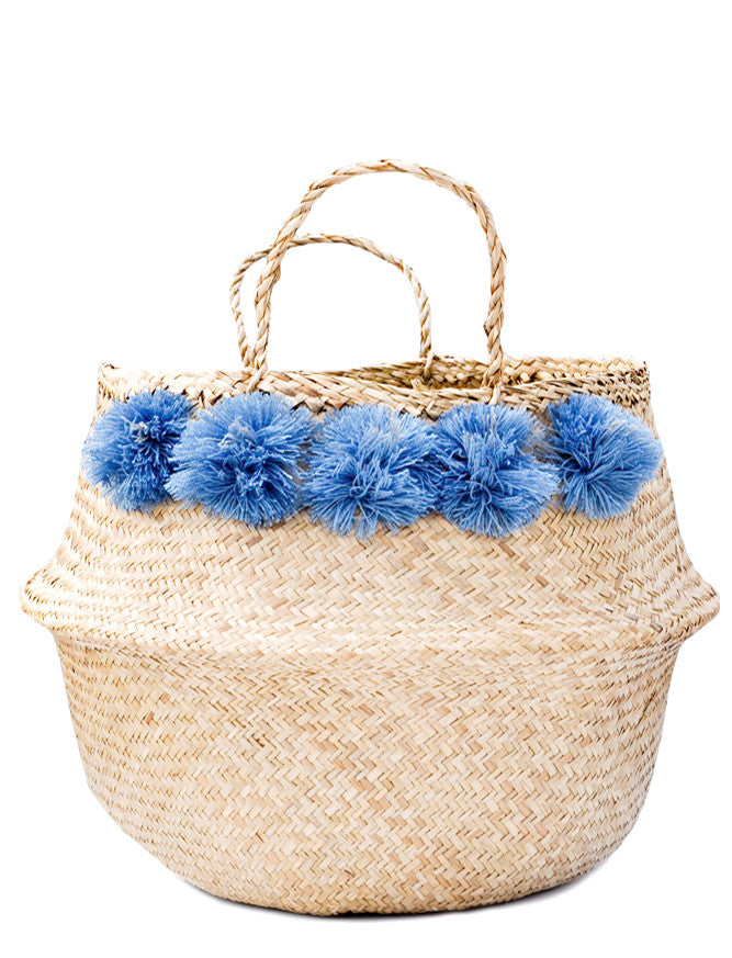 Pom Pom Venice Basket in Natural - LEIF