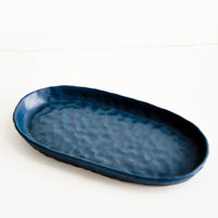 Deep Ocean: Dapple Textured Oval Shaped Ceramic Trays in Deep Ocean Blue Green - LEIF