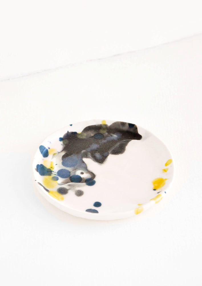 1: Splattered Mini Ceramic Dish in Pink & Black - LEIF
