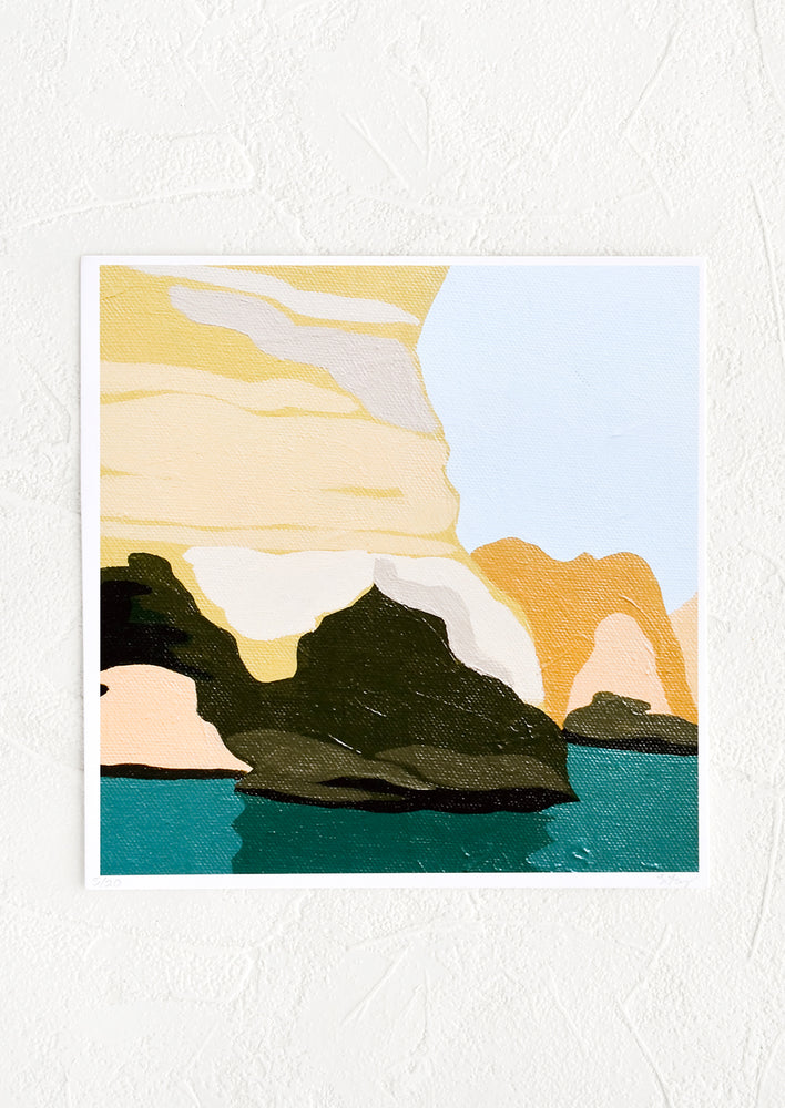 1: A square-shaped art print with image of a grotto setting in yelllow, orange, and greens.