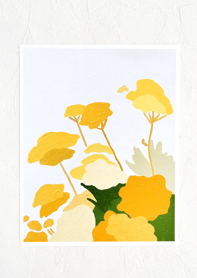 An art print of an original painting of yellow florals on a pale grey background.