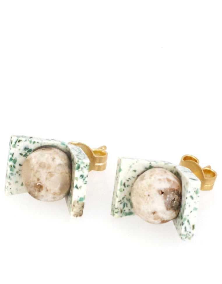 Small Truth Earrings in China Jade - LEIF