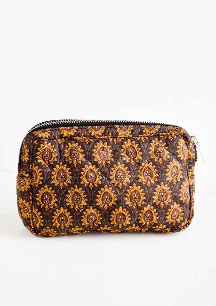 Small / Brown Talisman: Flat and rectangular makeup travel bag with zip closure in brown talisman print