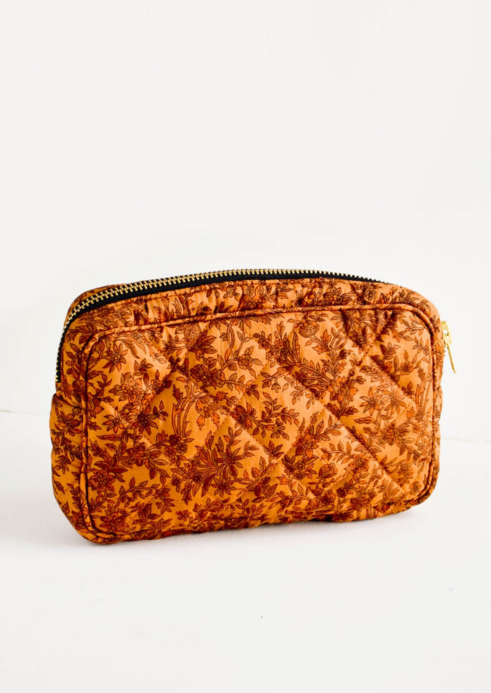 Small / Copper Floral Paisley: Flat and rectangular makeup travel bag with zip closure in copper floral print