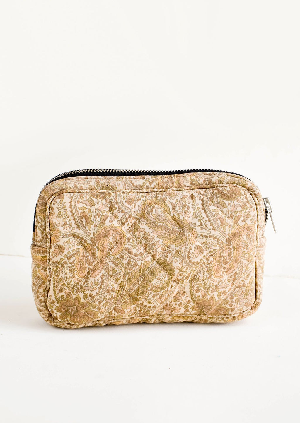 Small / Ivory Floral Paisley: Flat and rectangular makeup travel bag with zip closure in beige floral