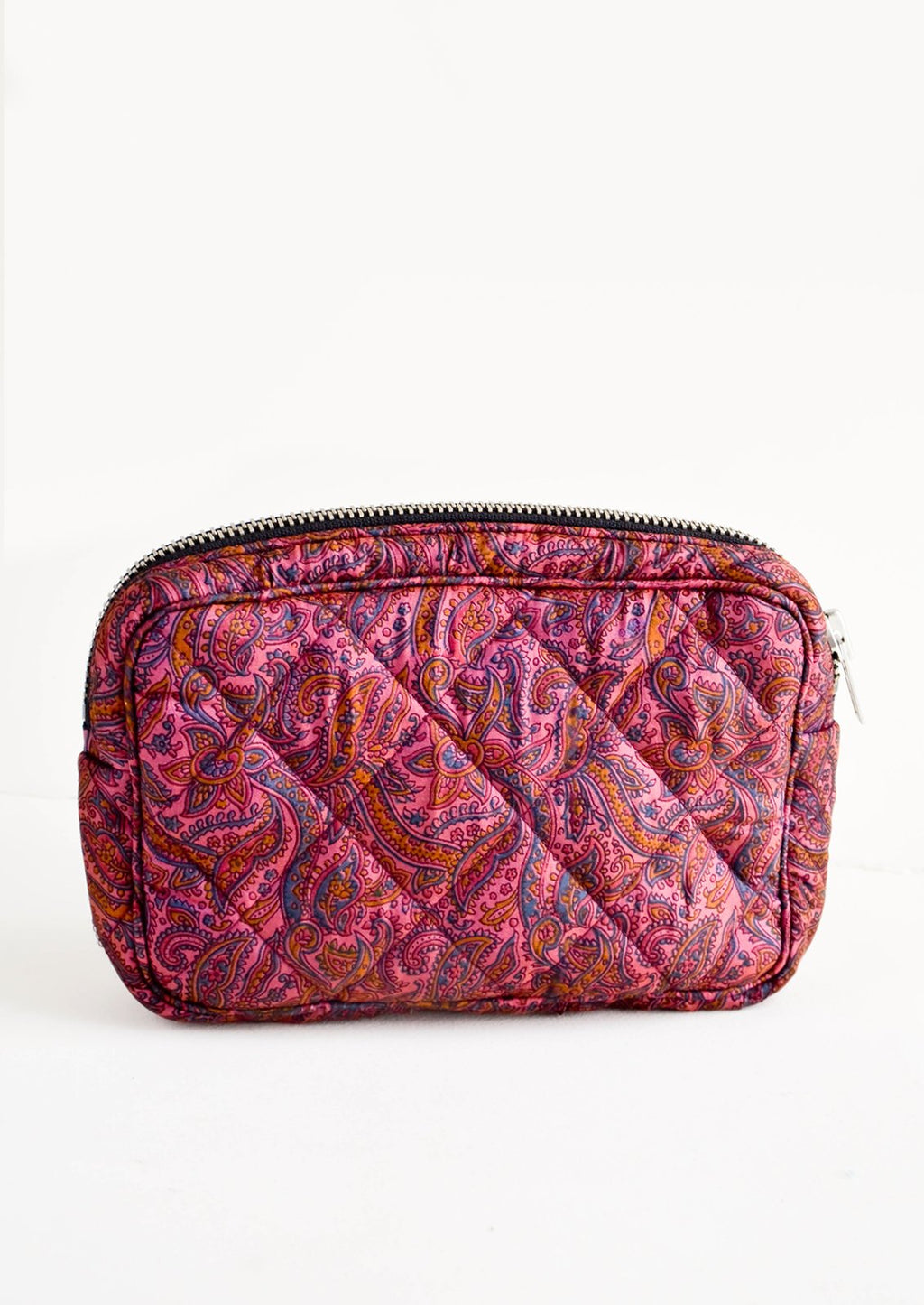 Small / Plum Floral Paisley: Flat and rectangular makeup travel bag with zip closure in plum paisley print