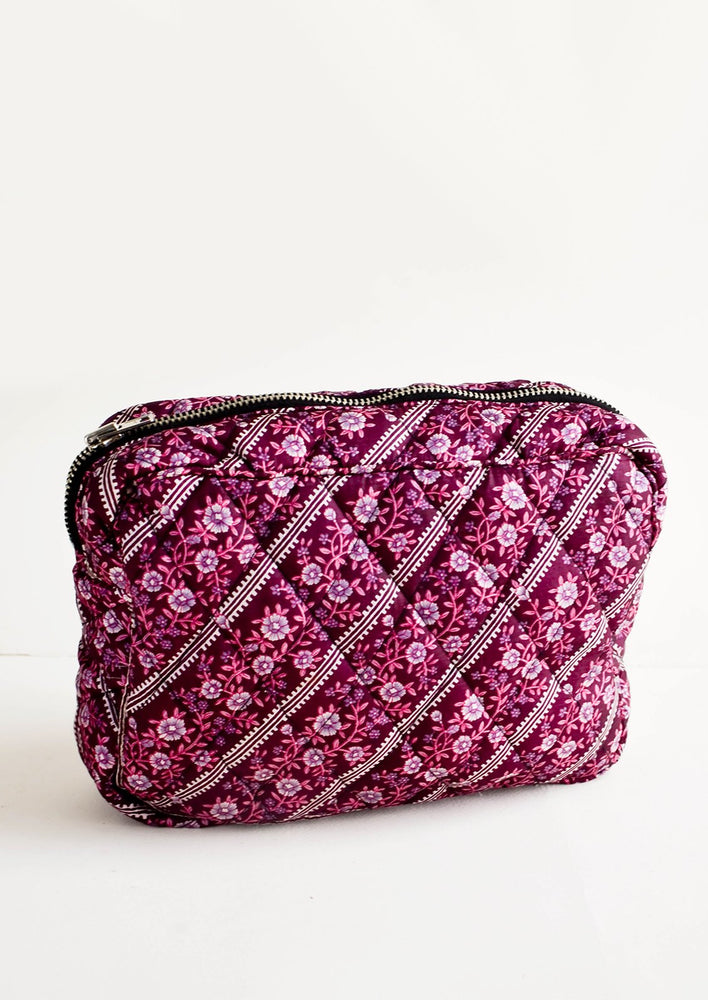 Large / Merlot Floral Stripe: Flat and rectangular makeup travel bag with zip closure in purple floral