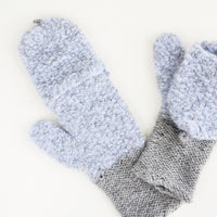 Cloud: Pale blue and gray alpaca and wool convertible mittens shown folded back to expose fingerless gloves.