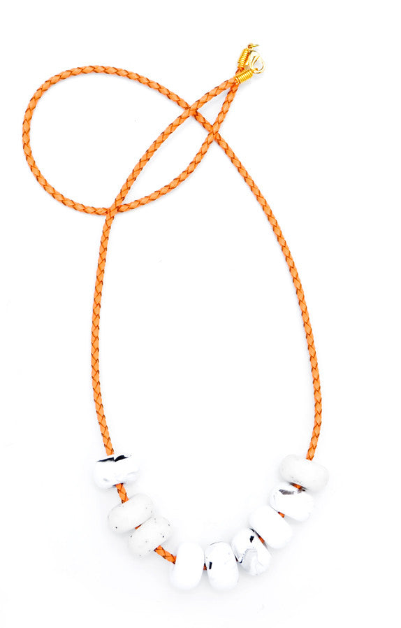 Emily Green Blanche White Clay Bead Necklace