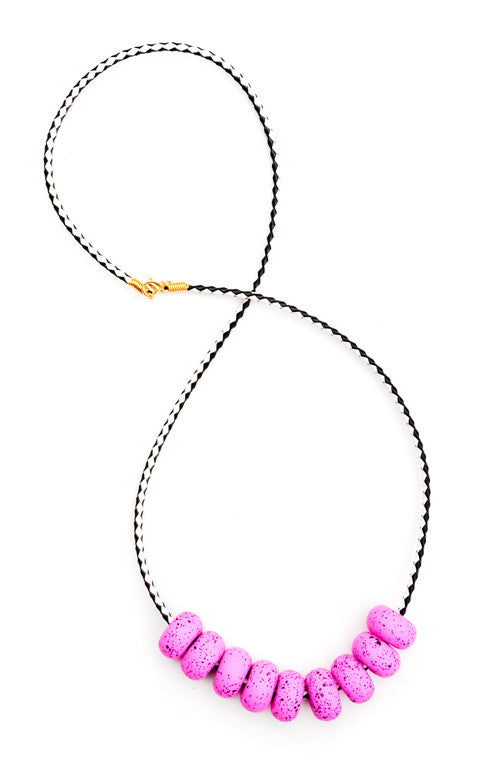 Raspberry: Speckled Messina Necklace in Raspberry - LEIF