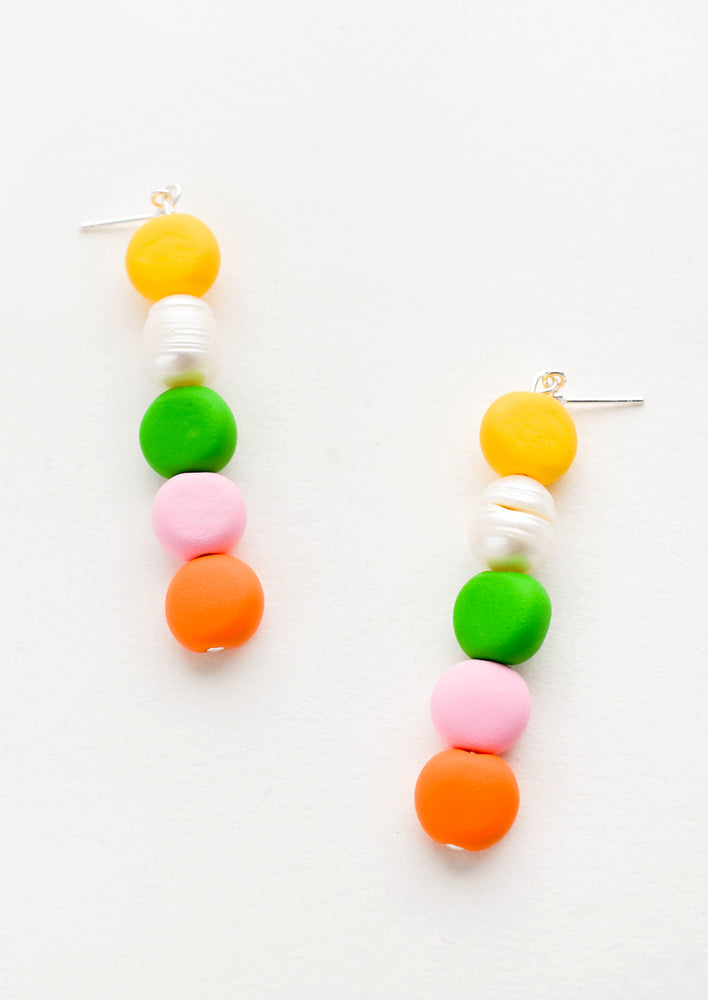 Green Multi: Earrings with colorful clay beads stacked in a row mixed with one pearl bead