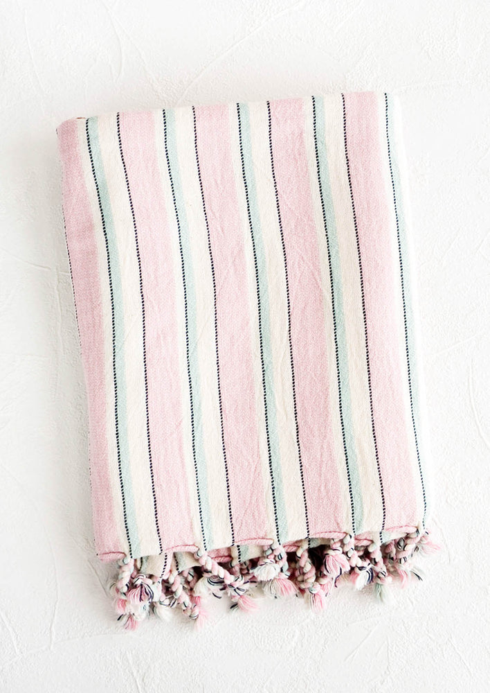 Lilac / Sky Multi: Striped cotton hammam Turkish towel in lilac and light blue stripes