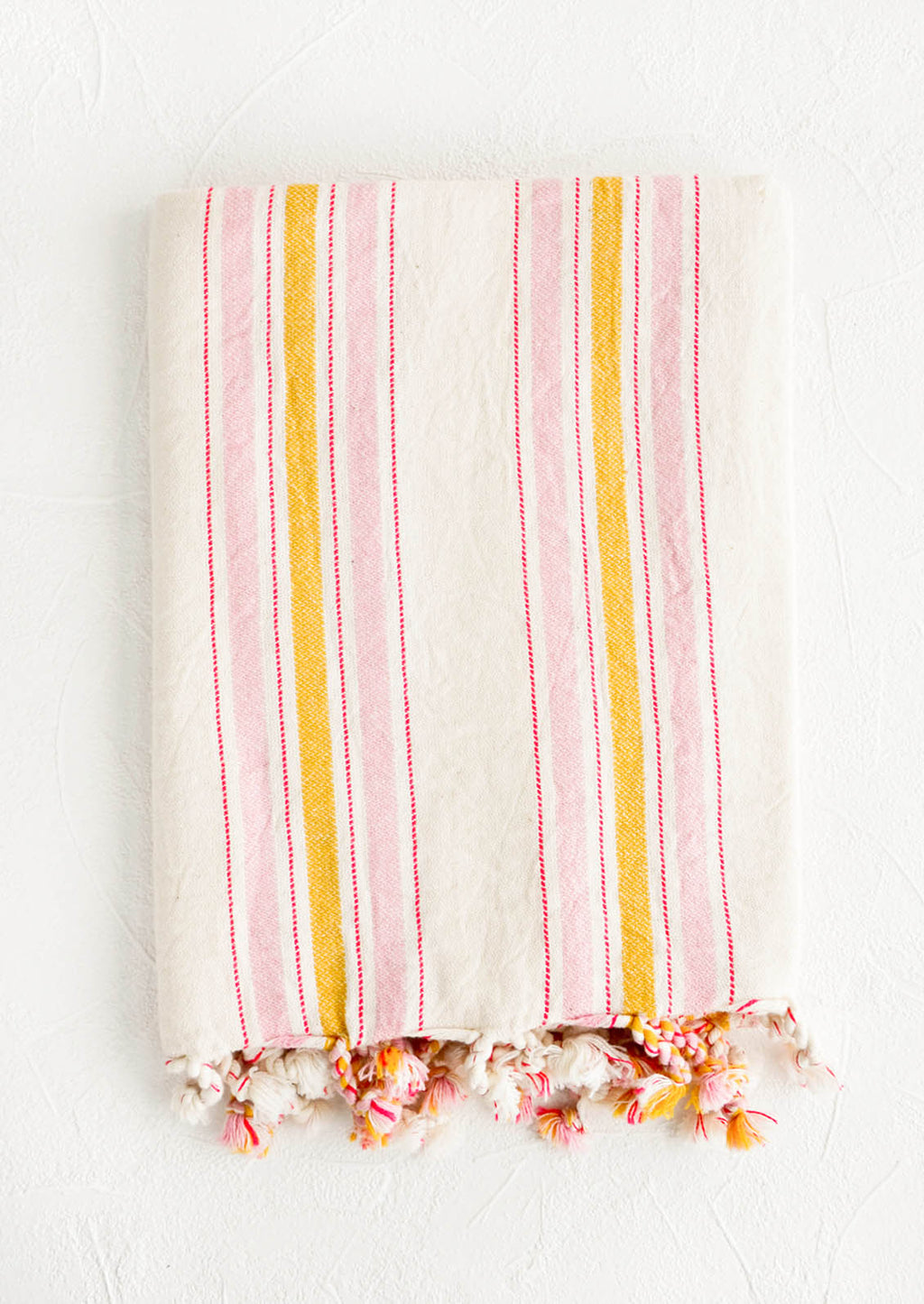 Pink / Yellow Multi: Striped cotton hammam Turkish towel in pink and yellow stripes
