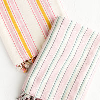 1: Striped turkish hammam towels in assorted pastel colors