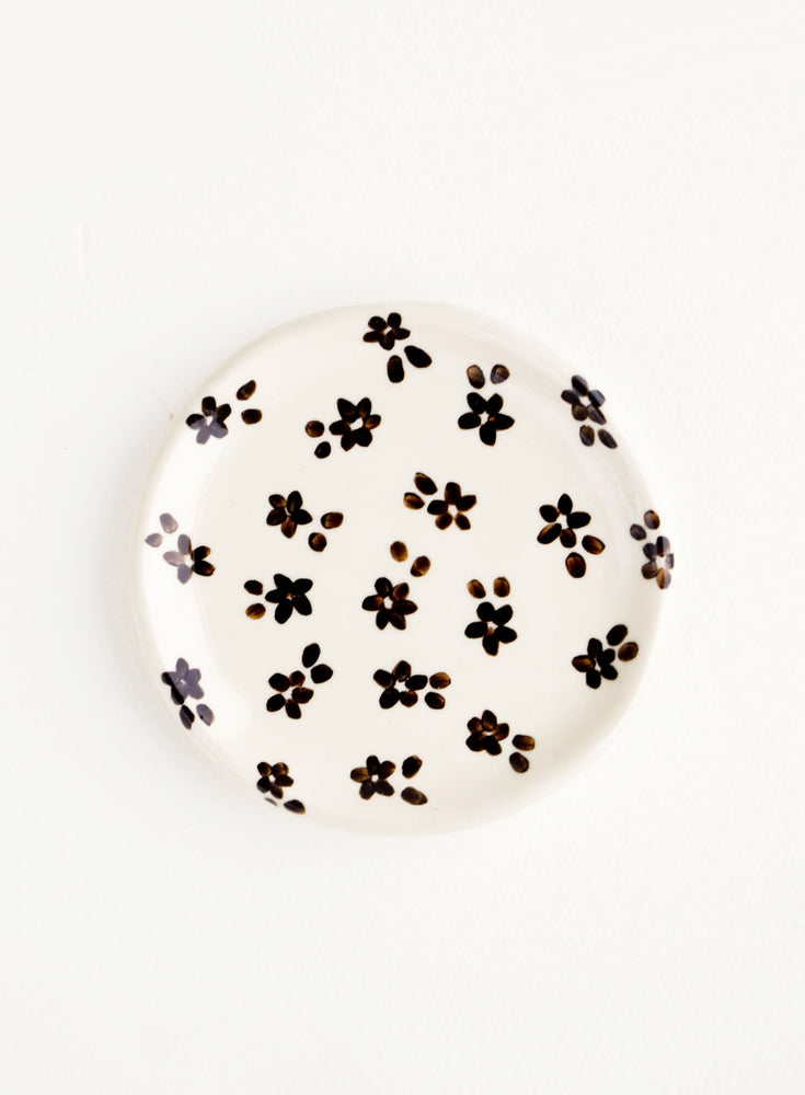 Black & White Floral: Small, round ceramic dish in white with black floral print