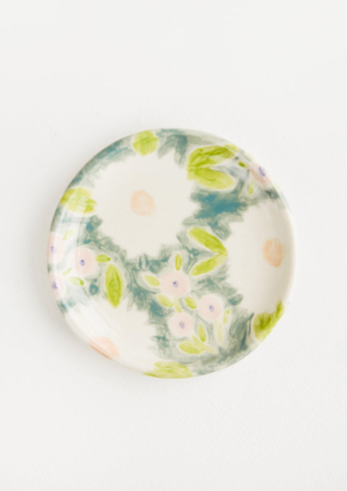 Meadow Floral: Small, round ceramic dish in whimsical floral print