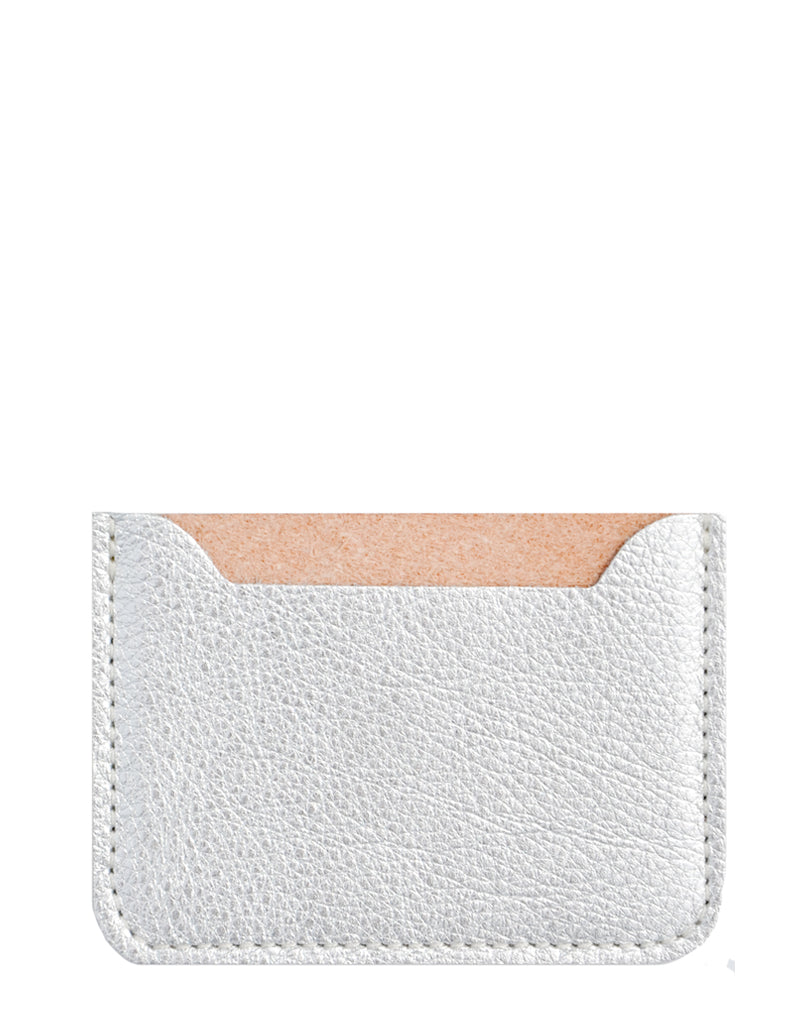 Metallic Silver: Essential Leather Card Holder in Metallic Silver - LEIF