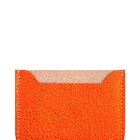 Metallic Orange: Essential Leather Card Holder in Metallic Orange - LEIF