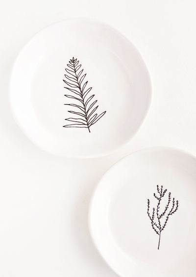 Etched Botanical Ceramic Dish