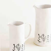 2: Tall Ceramic Pitchers in White with Black Botanical Drawings, Shown in 2 Sizes - LEIF