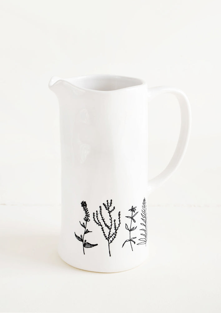 1: Tall Ceramic Pitcher in White with Black Botanical Drawings - LEIF