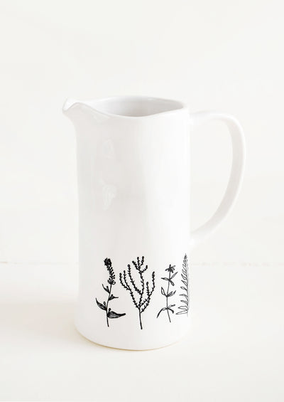 Etched Botanical Pitcher