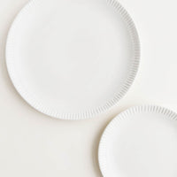 Matte White / Dinner Plate: One dinner and one salad plate in matte white with etching detail around rim.