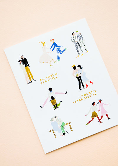"Greeting card with couples dancing, reads ""All love is beautiful, but yours is extra special"""