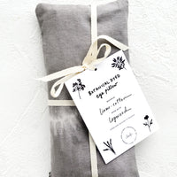 Logwood: A naturally dyed relaxation eye pillow in dark grey and white tie dye.