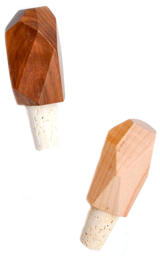 Faceted Wood Bottle Stopper - LEIF
