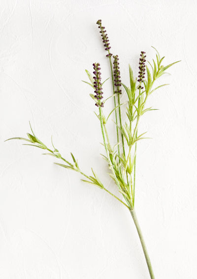Realistic looking faux lavender stem, complete with flowers, leaves and stem