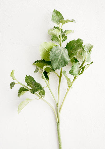 Realistic looking faux spearmint stem, single stem with four branches of leaves