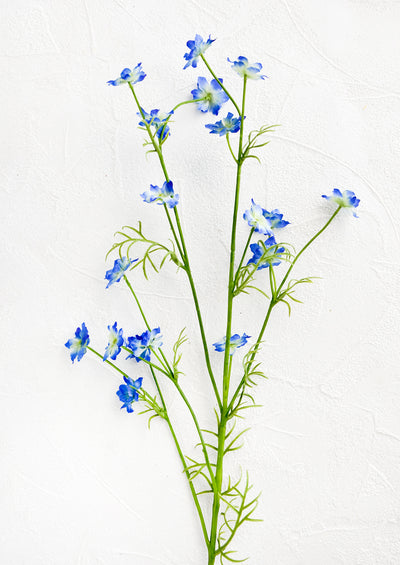 Realistic looking faux flower stem made to look like wild delphinium