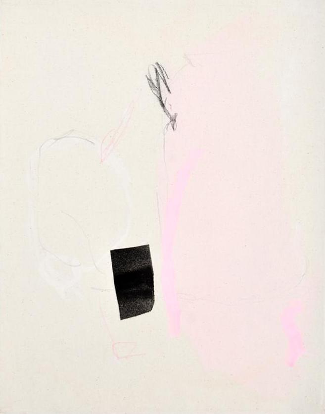 1: A minimalist, abstract painting of shapes in pink, black, and white on an ivory canvas.