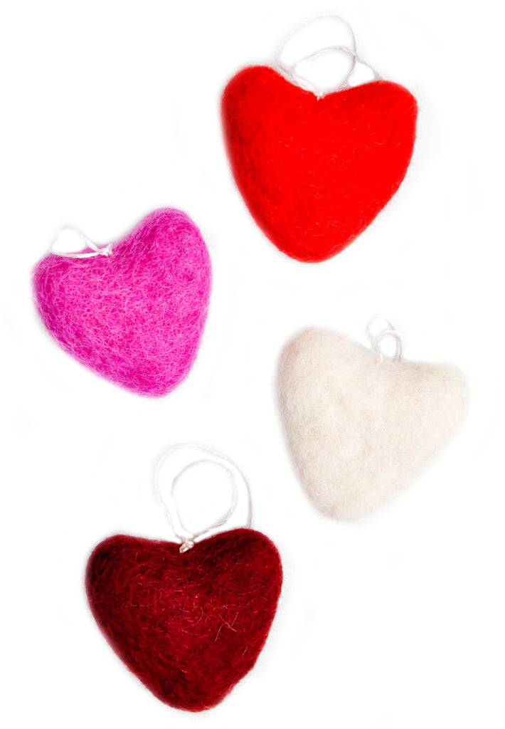 Felted Hearts Ornament Set - LEIF