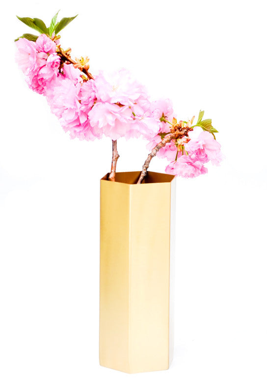 Brass Hexagon Vase - LEIF
