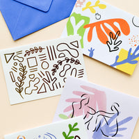 1: Product show showing multiple styles of notecard.