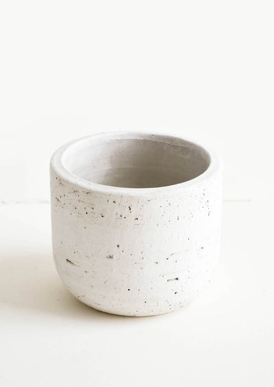 Small concrete planter in white birchwood-like texture
