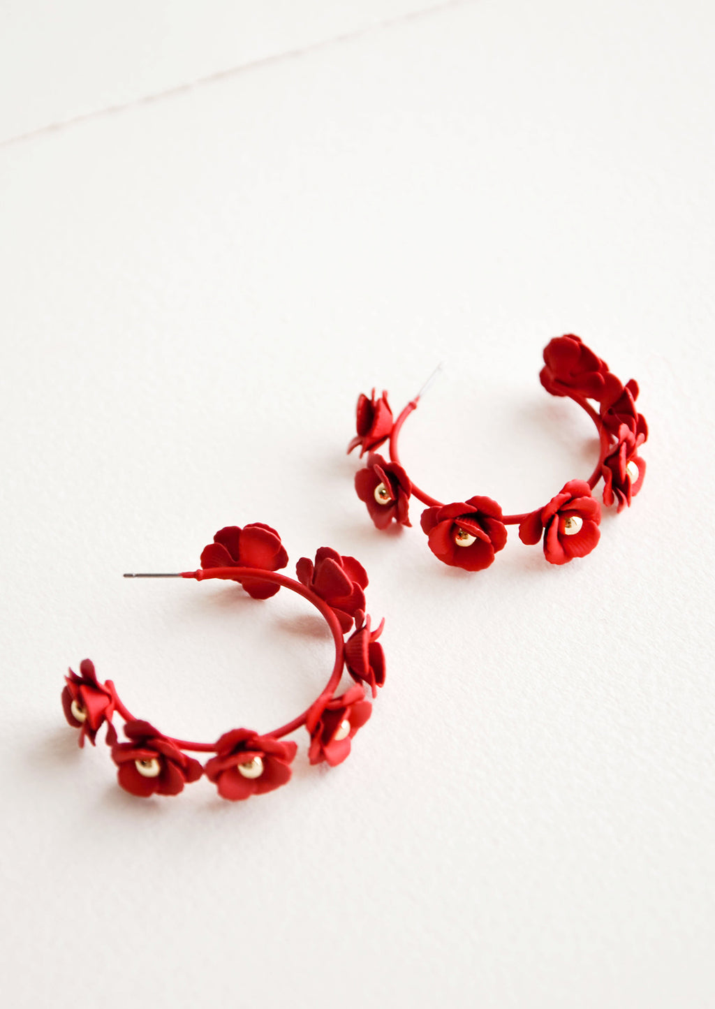 Red: Floral Society Hoop Earrings in Red - LEIF