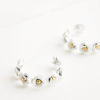 White: Floral Society Hoop Earrings in White - LEIF