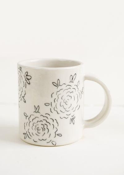 Painted Floral Ceramic Mug
