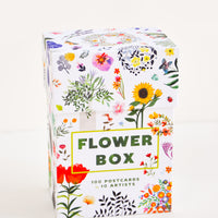 "1: Outside of a box of floral notecards, with drawings of flowers and the text ""Flower Box""."