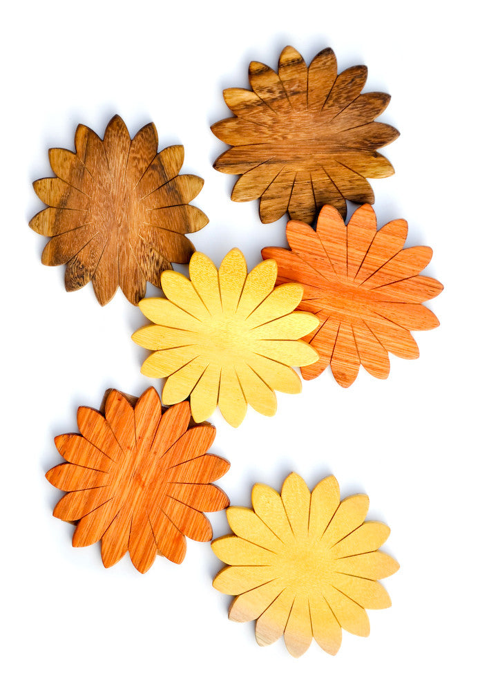 Flower Wood Coaster Set - LEIF