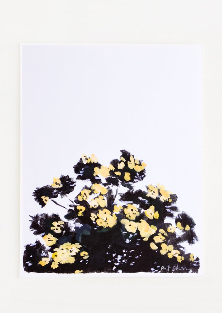 1: Art print featuring a silhouetted tree with yellow flowers against the sky
